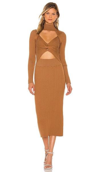 AMUR Rib Knit Tide Dress in Tan in camel