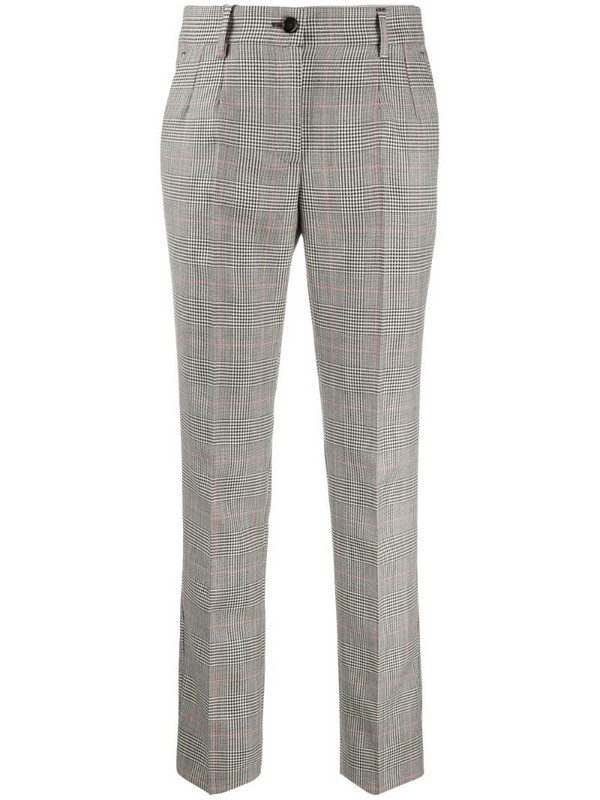 Dolce & Gabbana check-pattern cropped trousers in white