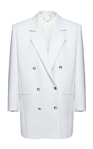 Magda Butrym Double-Breasted Stretch-Wool Blazer in white