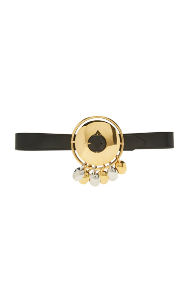 Paco Rabanne Gold-Tone Leather Disc Belt in black