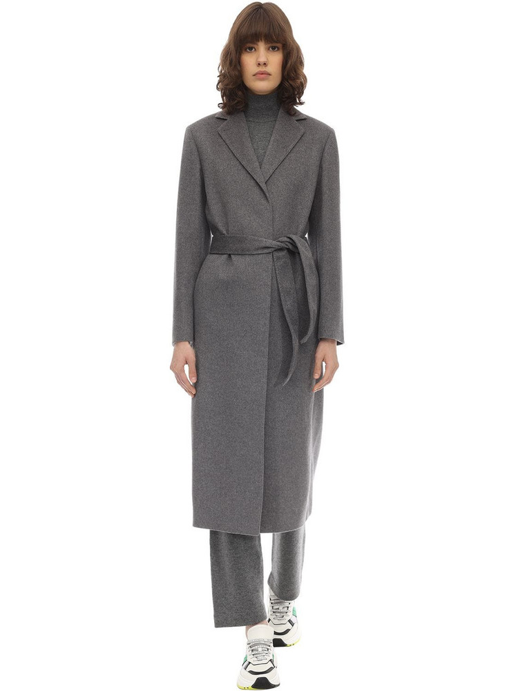 AGNONA Zybeline Belted Cashmere Coat in grey
