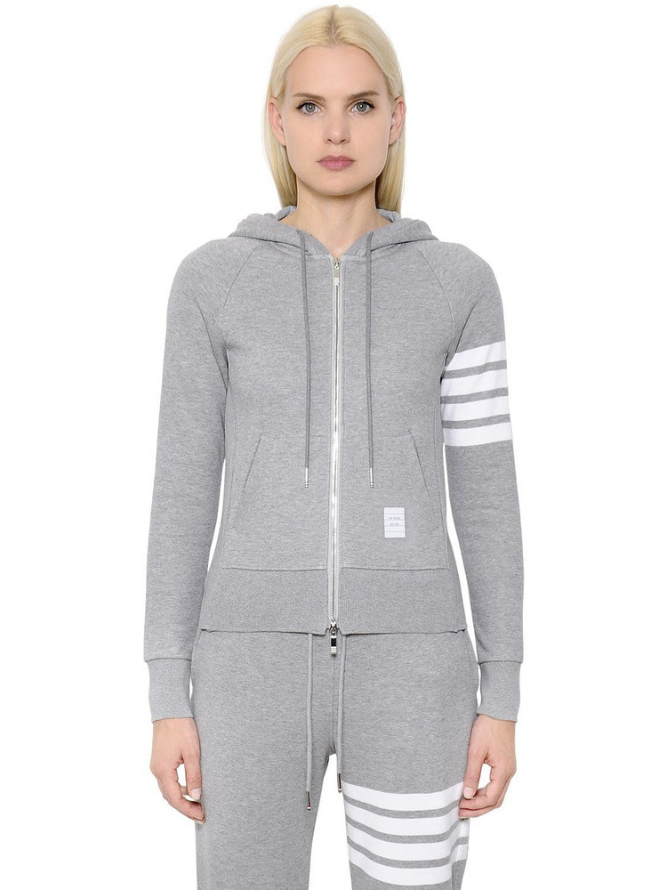 THOM BROWNE Intarsia Cotton Jersey Zip-up Sweatshirt in grey