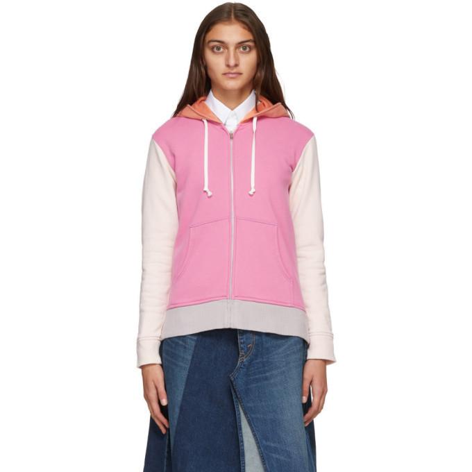Comme des Garcons Shirt Pink and Orange Colorblock Logo Zip-Up Hoodie in grey