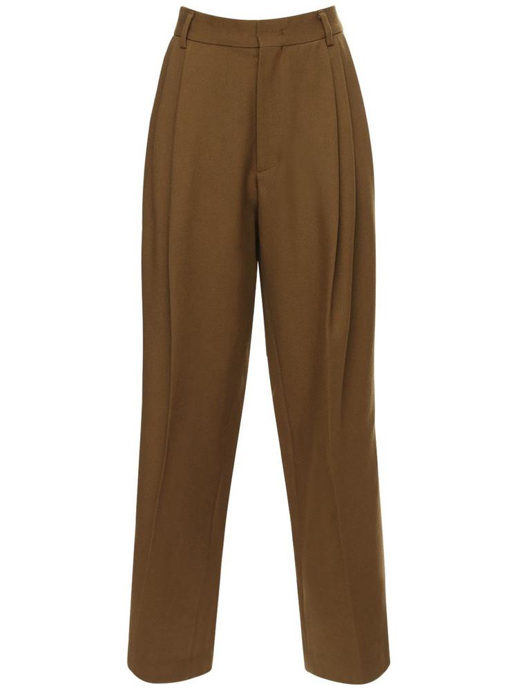 WE11 DONE Pleated Baggy Wool Pants in brown
