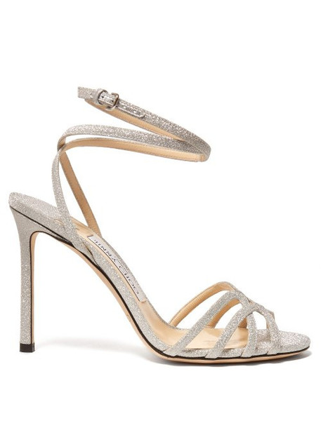 Jimmy Choo - Mini 100 Cross Strap Glitter Sandals - Womens - Silver