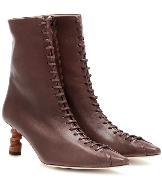 Rejina Pyo Simone leather ankle boots in brown