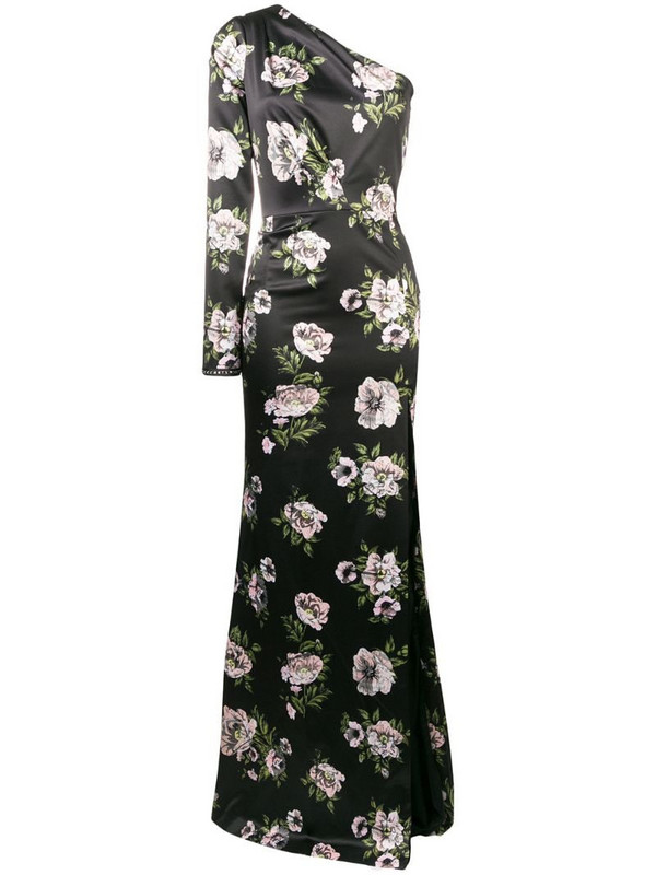 Philipp Plein floral one shoulder evening dress in black