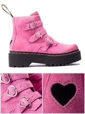 shoes,pastel goth,heart shoes,pink shoes,platform martins,pastel punk,retro,boots,kawaii,kawaii boots,harajuku,fairy kei,fairy boots,love,pink boots