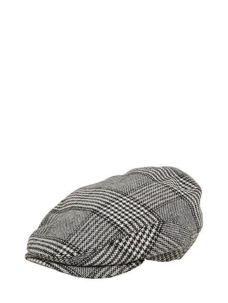 DOLCE & GABBANA Wool Blend Tartan Hat in black / white