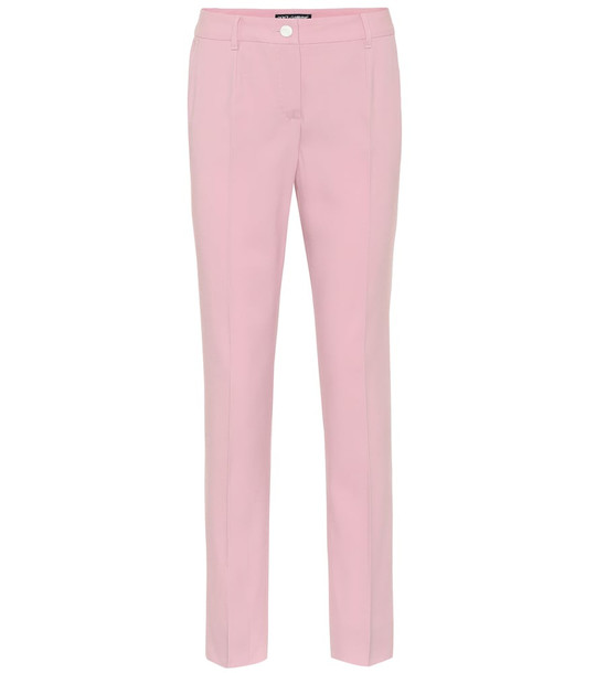 Dolce & Gabbana Mid-rise wool-crêpe pants in pink