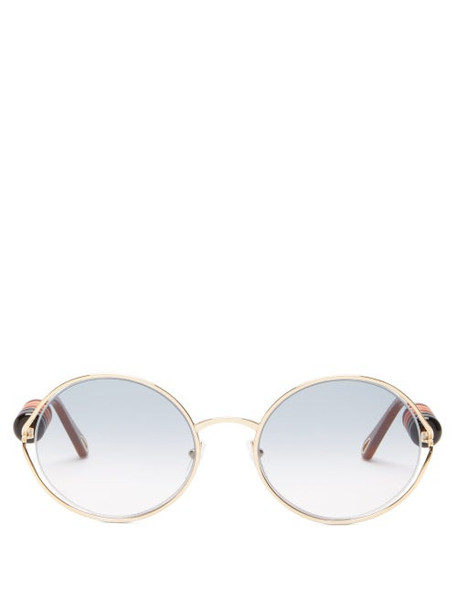 Chloé Chloé - Dillie Round-frame Beaded Metal Sunglasses - Womens - Grey Gold