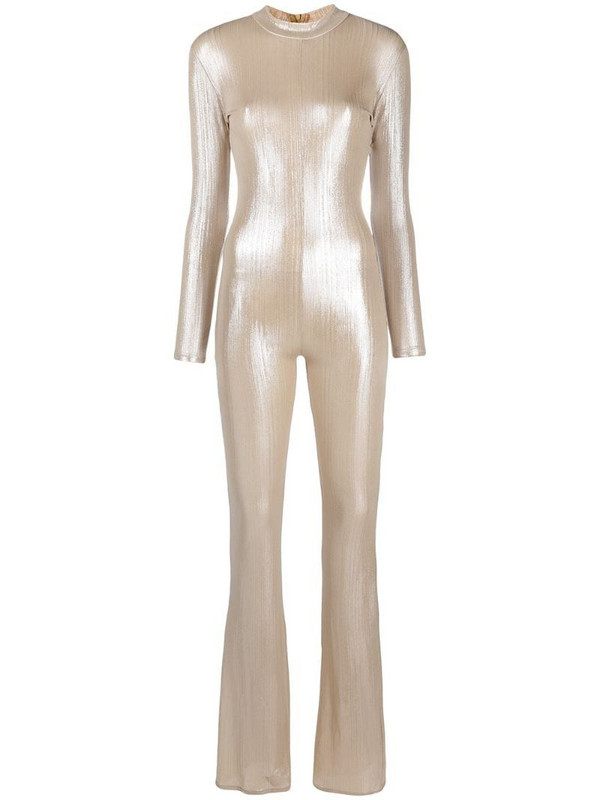 Alchemy funnel neck jumpsuit in gold