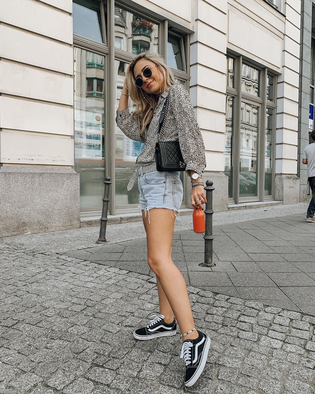 shorts denim shorts shirt black bag black sneakers vans