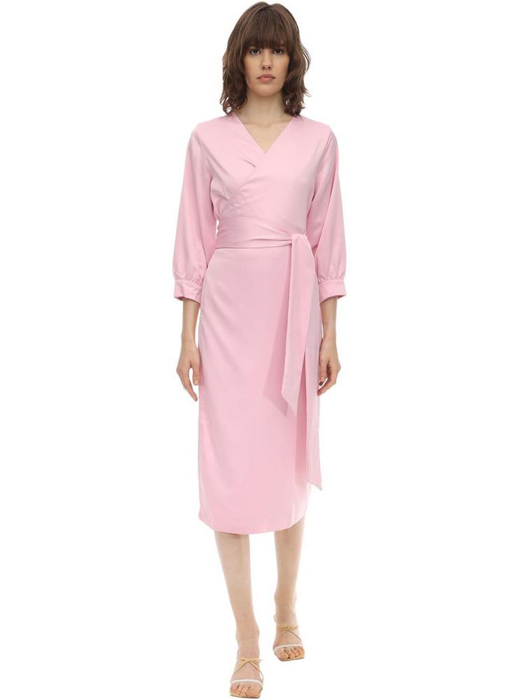 AÉRYNE Cowry Satin Wrap Dress in pink