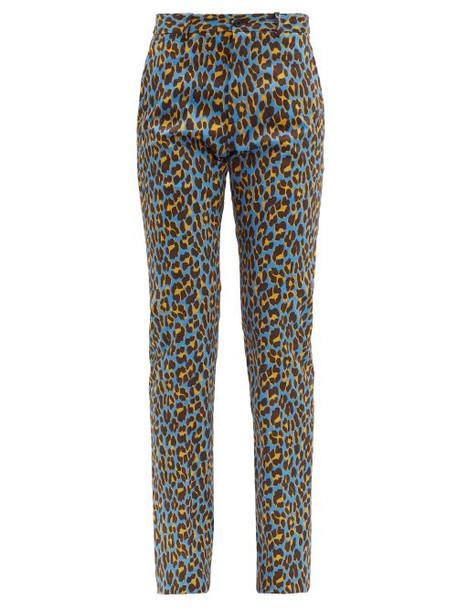 Connolly - Leopard Print Cotton Blend Trousers - Womens - Blue Multi