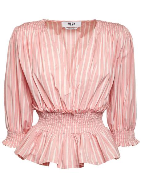 MSGM Ruffled Cotton Poplin Shirt in pink / white