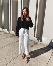 jumpsuit,white jumpsuit,stripes,sleeveless,mules,black sweater