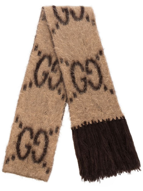 Gucci GG-pattern fringed scarf in brown