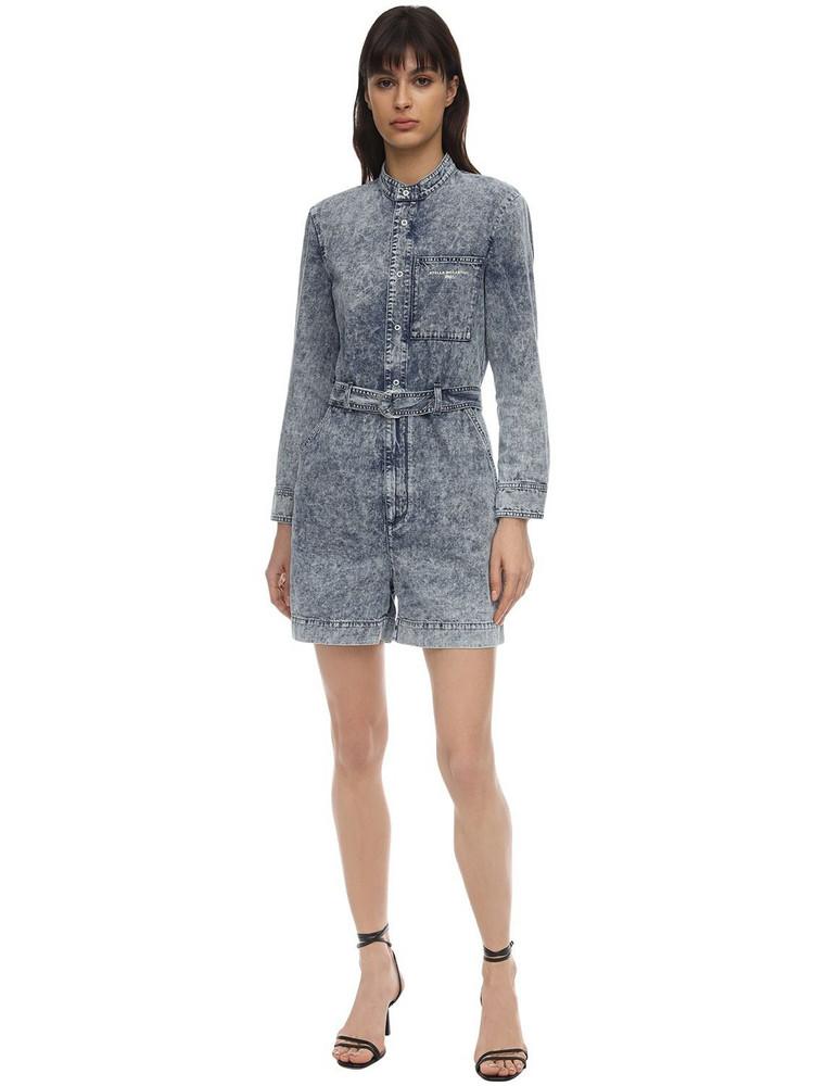 STELLA MCCARTNEY Distressed Cotton Denim Jumpsuit in blue