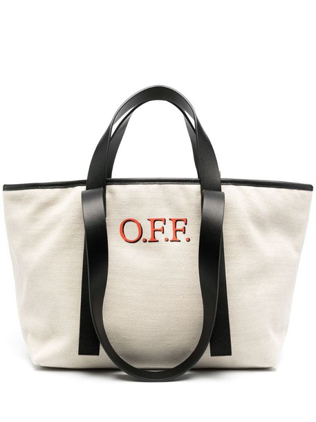 Off-White CANVAS SMALL COMMERCIAL TOTE BEIGE RED in neutrals