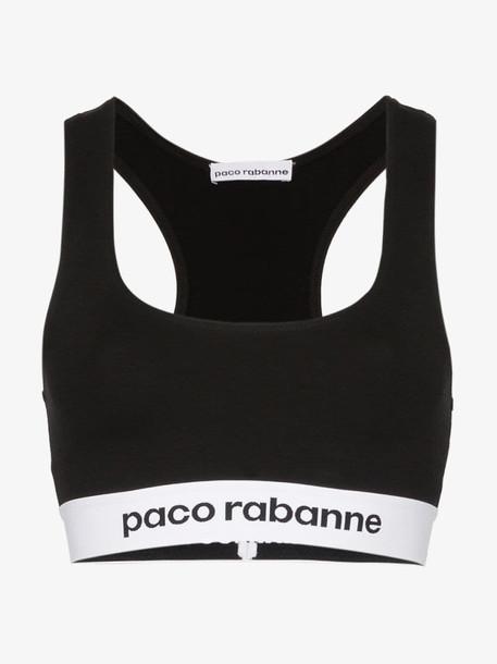 Paco Rabanne Logo Trim Sports Bra in black