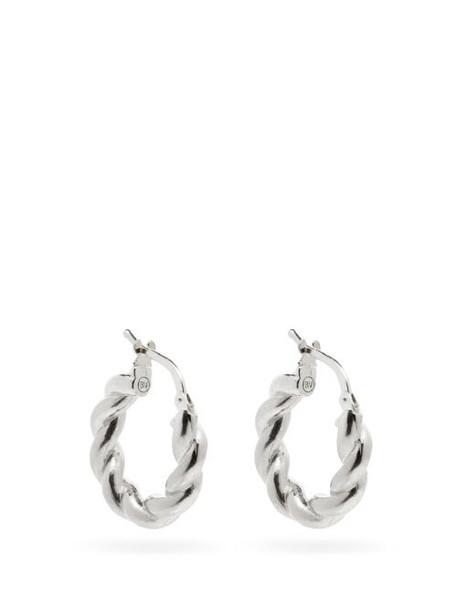 Bottega Veneta - Twisted Sterling-silver Hoop Earrings - Womens - Silver