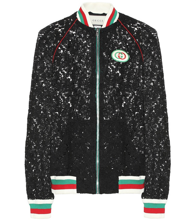 Gucci Floral-lace bomber jacket in black
