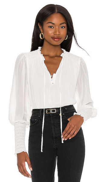 1. STATE Smocked Blouse in Ivory in ecru