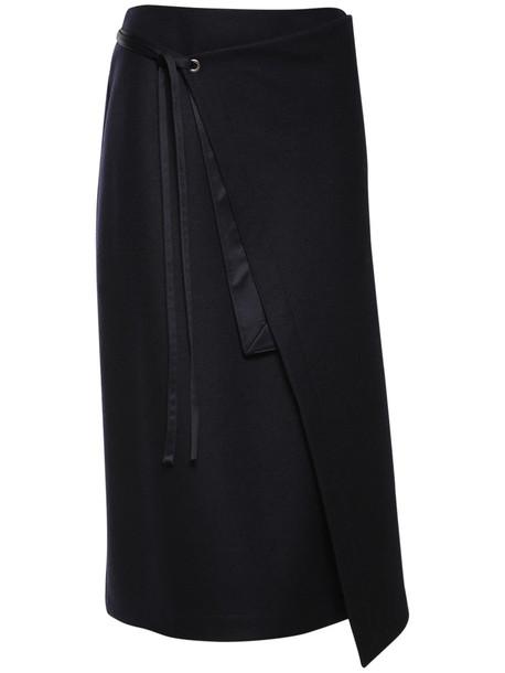 JIL SANDER Wool Jersey Wrap Midi Skirt in navy