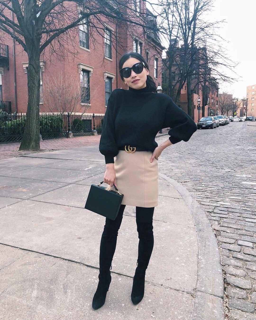bag boxed bag black bag over the knee boots black boots tights mini skirt gucci belt black turtleneck top black sweater turtleneck sweater