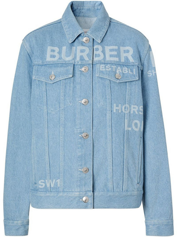 Burberry Horseferry print bleached denim jacket in blue