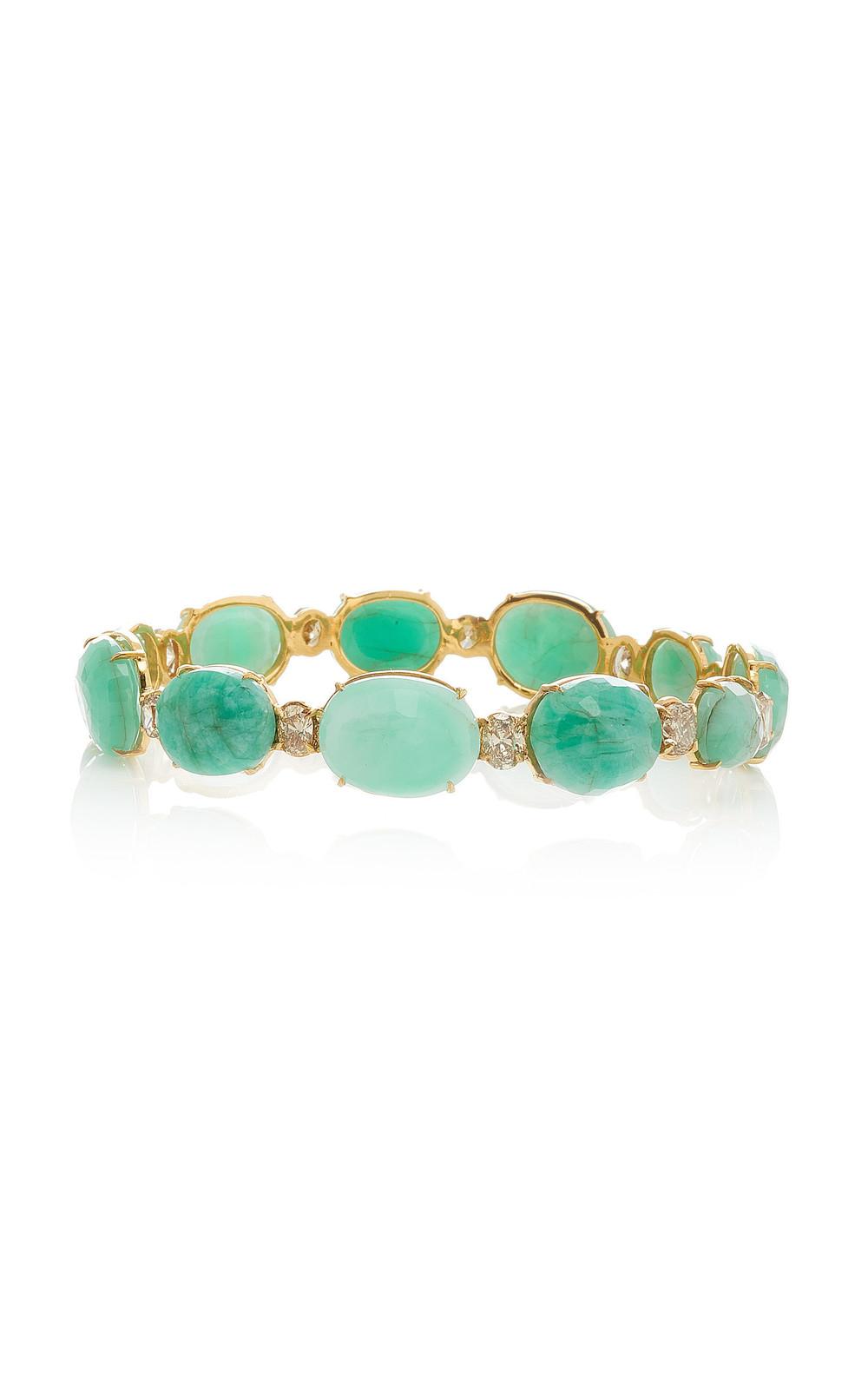 Ofira Milky Emerald & Champagne Diamond Bangle in gold