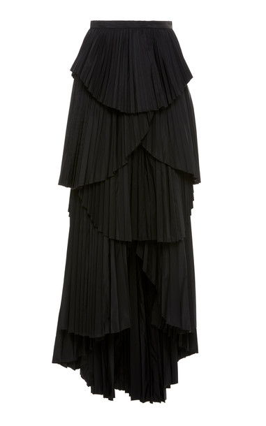 AMUR Ophelia Pleated Chiffon Midi Skirt in black