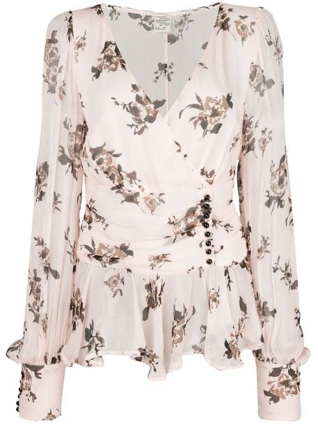 Baum Und Pferdgarten button-detail floral-print chiffon blouse in pink