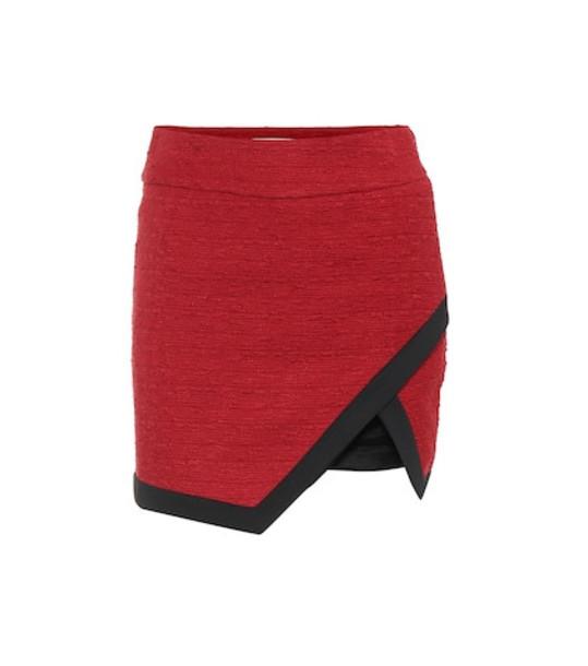 Alexandre Vauthier Asymmetrical tweed miniskirt in red