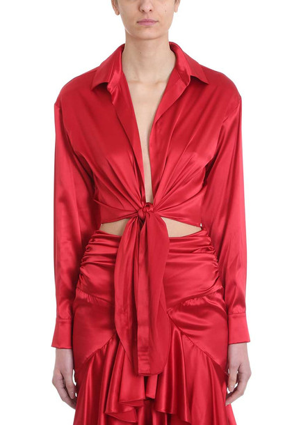 Alexandre Vauthier Deep V Bow Tie Cropped Shirt in red