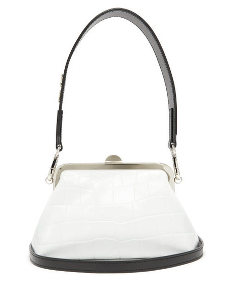 Marques'almeida - Crocodile-effect Leather Clasp Bag - Womens - White