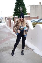 blonde bedhead,blogger,jacket,t-shirt,jeans,shoes,bag,coat,hat,sunglasses