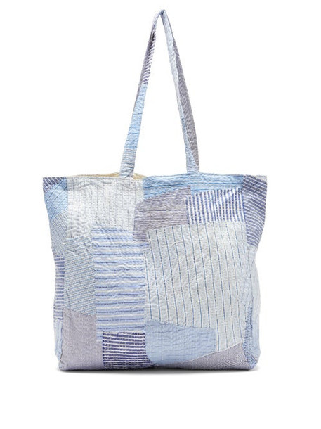 By Walid - Patchwork Cotton Poplin Tote Bag - Womens - Blue