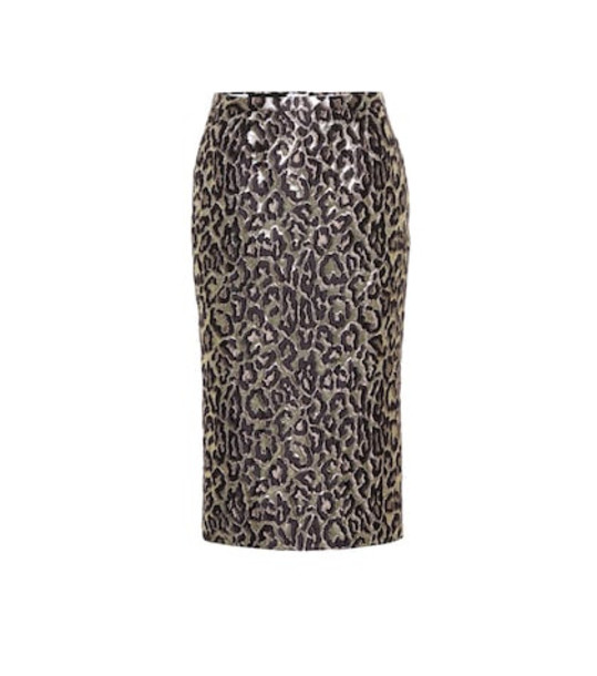 Rochas Oncidium brocade high-waisted skirt in metallic