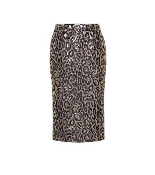 Rochas Oncidium brocade high-waisted skirt in metallic