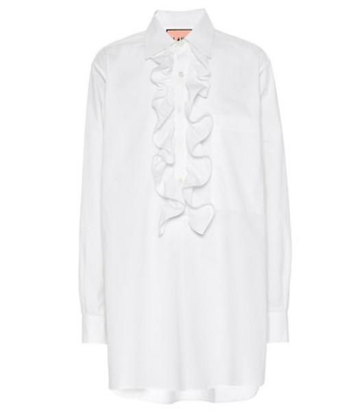 Plan C Ruffled cotton blouse in white