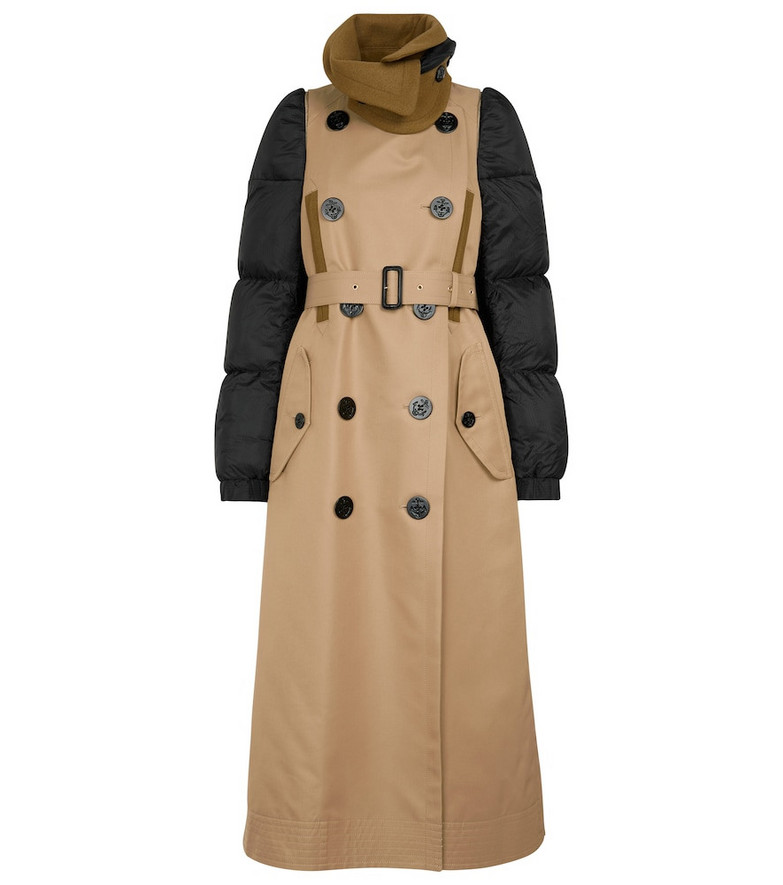 sacai Padded cotton and nylon trench coat in beige