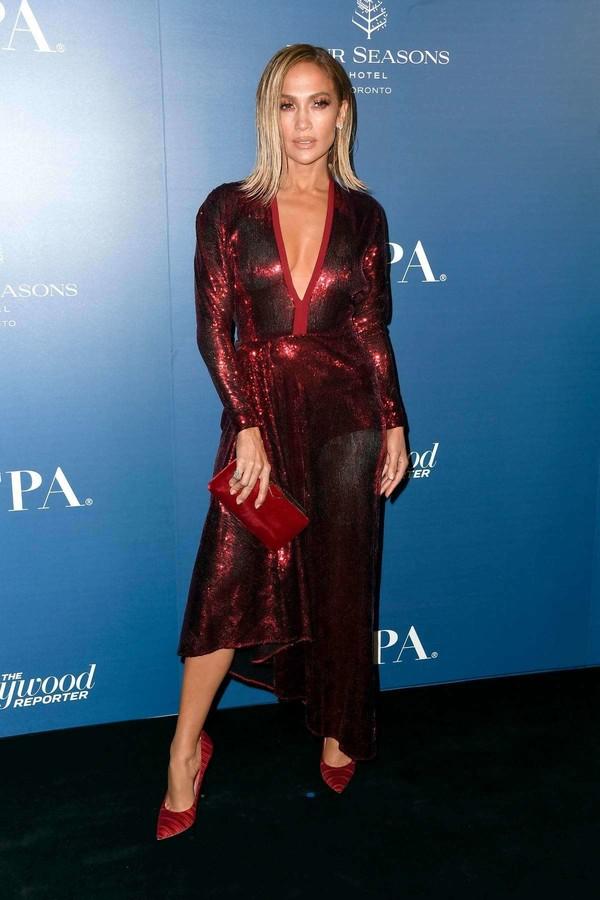 dress sequins sequin dress jennifer lopez celebrity asymmetrical asymmetrical dress red dress red
