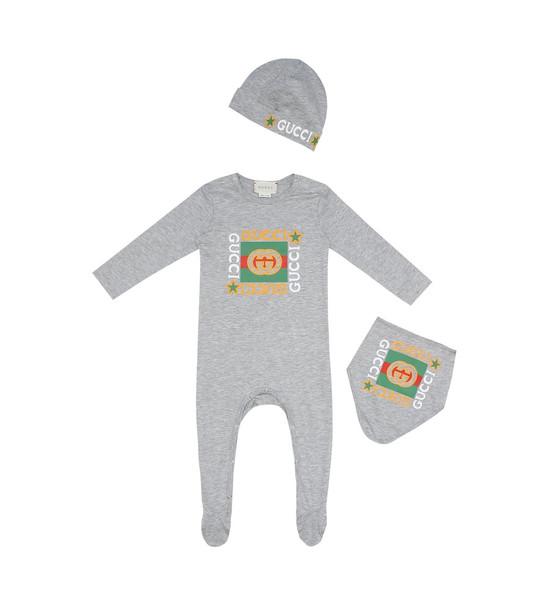 Gucci Kids Baby cotton onesie, bib and hat set in grey