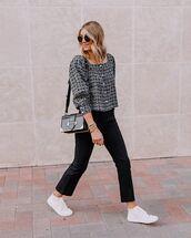 bag,black bag,white sneakers,black pants,jacket