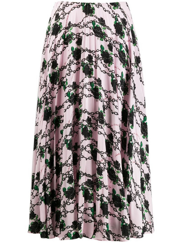 Valentino x Undercover silk pleated skirt in pink