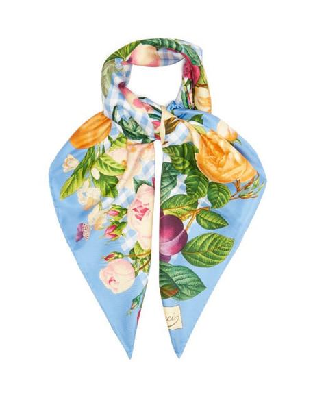 Gucci - Floral-print Gingham Silk-twill Scarf - Womens - Blue Multi