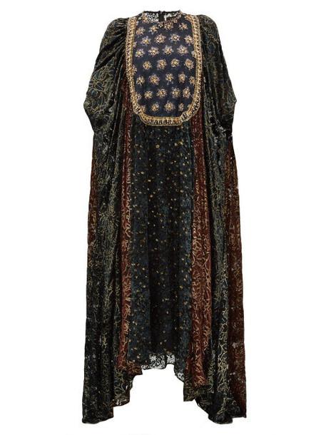 Biyan - Ismarella Crystal Embellished Devoré Velvet Gown - Womens - Black