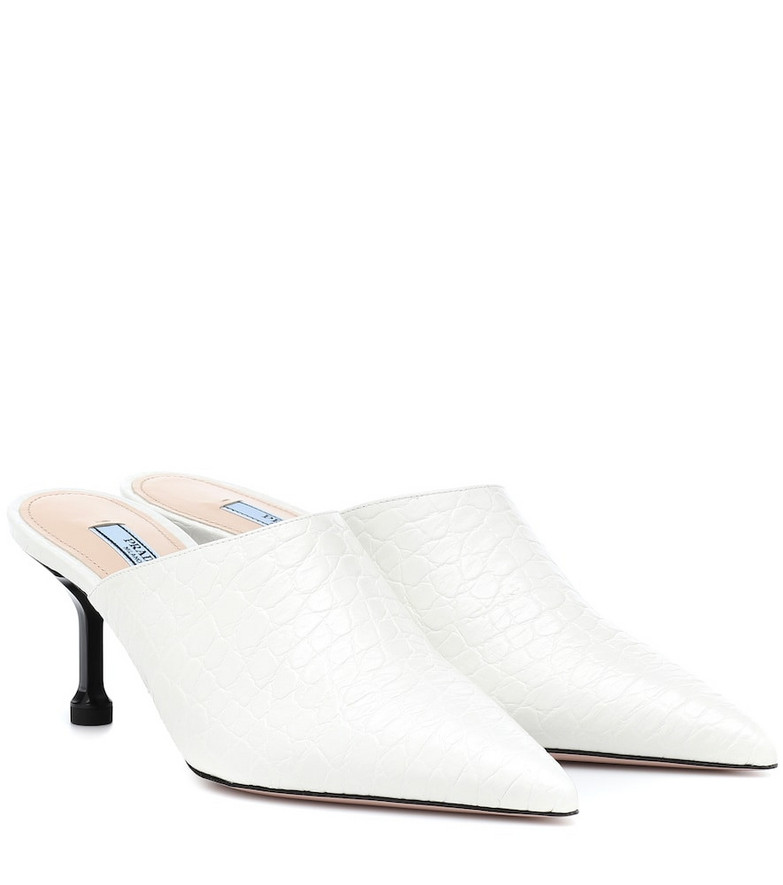 Prada Embossed leather mules in white